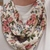 Infinity scarf, Short scarf, pink floral knit denim fabric, Circle scarf, Gift