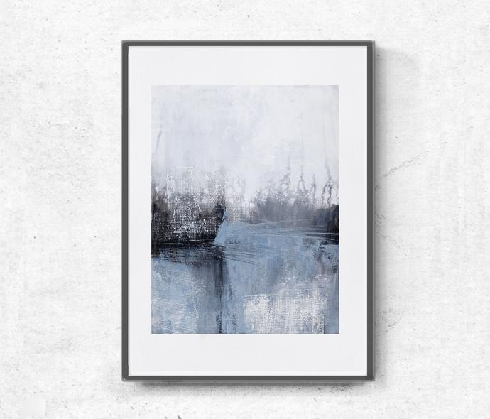 Light blue and white, modern abstract, scandinavian design, minimalist original