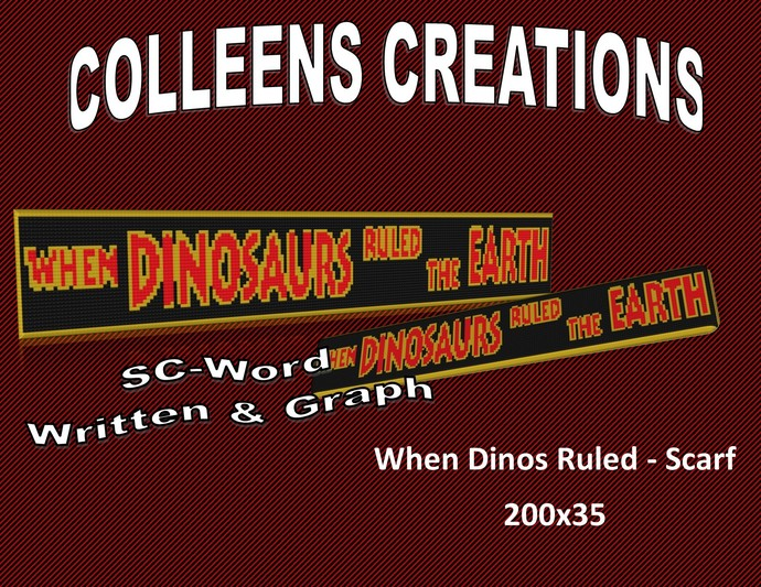 When Dinosaurs Ruled Scarf Crochet Written and Graph Design