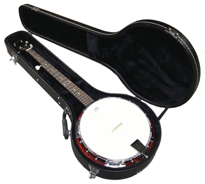 """5-String BANJO - in HARD CASE REMO Head 38"""" TRADITIONAL BLUEGRASS Sepele Wood"""