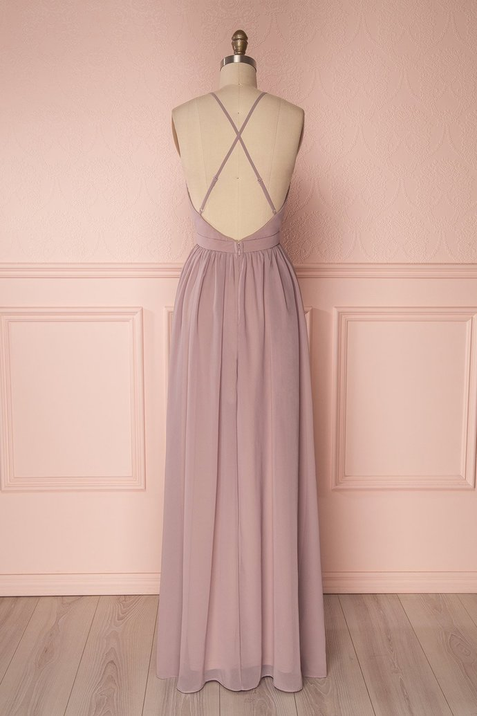 Flowing Lalic Chiffon Pleats Open Back Plunging Neckline Prom Dress Robe de