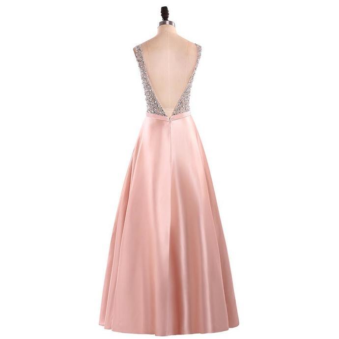 Stunning V Neck Sleeveless Blush Pink Satin Prom Dresses with Beading, Floor