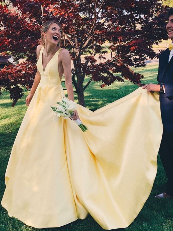 Sexy V Neck Yellow Satin A Line Long Prom Dresses, Backless Formal Dresses