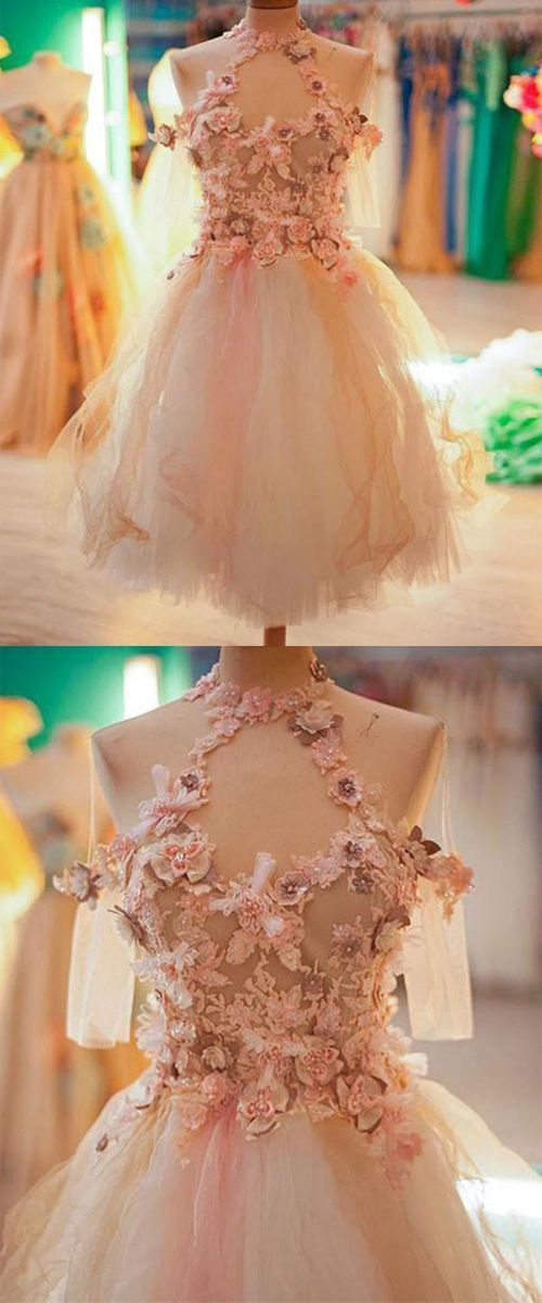A-Line Jewel Knee-Length Tulle Homecoming Dress,Cocktail Dress with Flowers