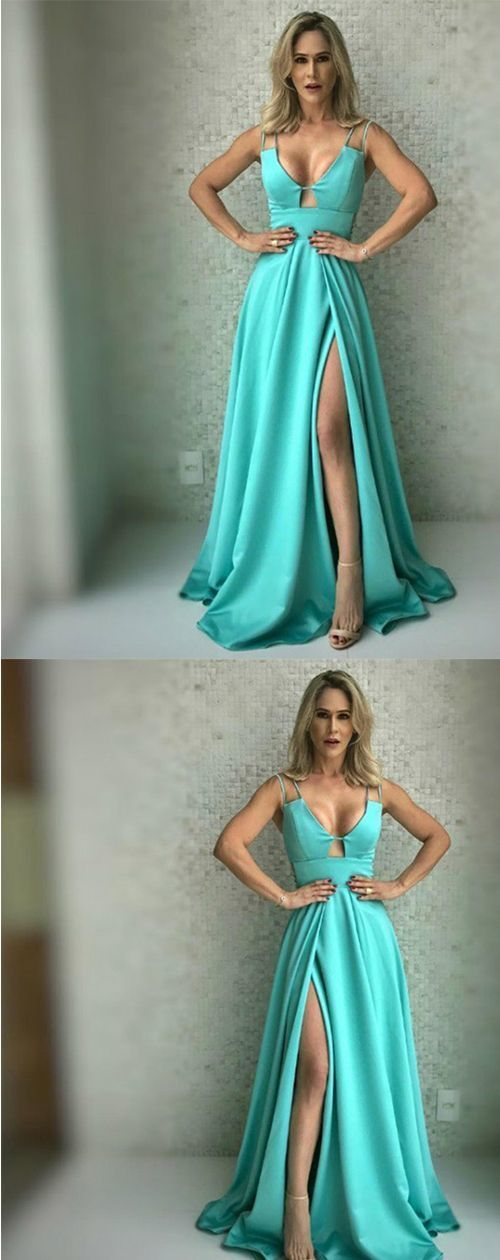 A-Line Scoop Sleeveless Sweep Train Split Front Green Satin Prom Dress M7104