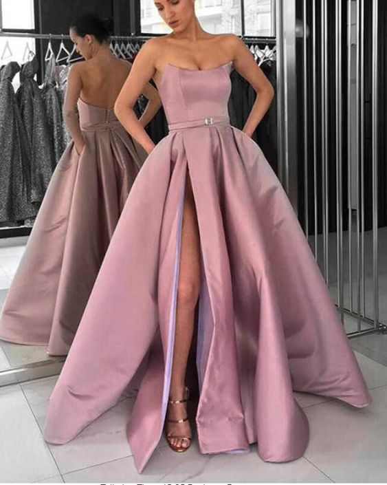 Lavender Strapless Formal Gowns Women 2019 Prom Dresses Long with Slit M7127
