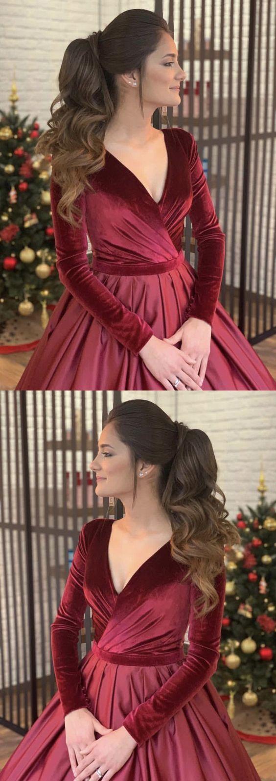 Velvet Evening Dresses,Velvet Ball Gowns,Burgundy Wedding Dresses,Maroon Wedding