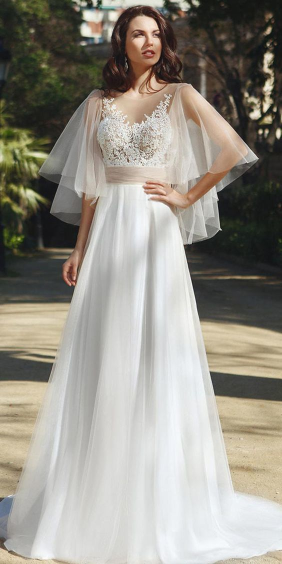 Fashionable Tulle Jewel Neckline See-through Bodice A-Line Wedding Dress With