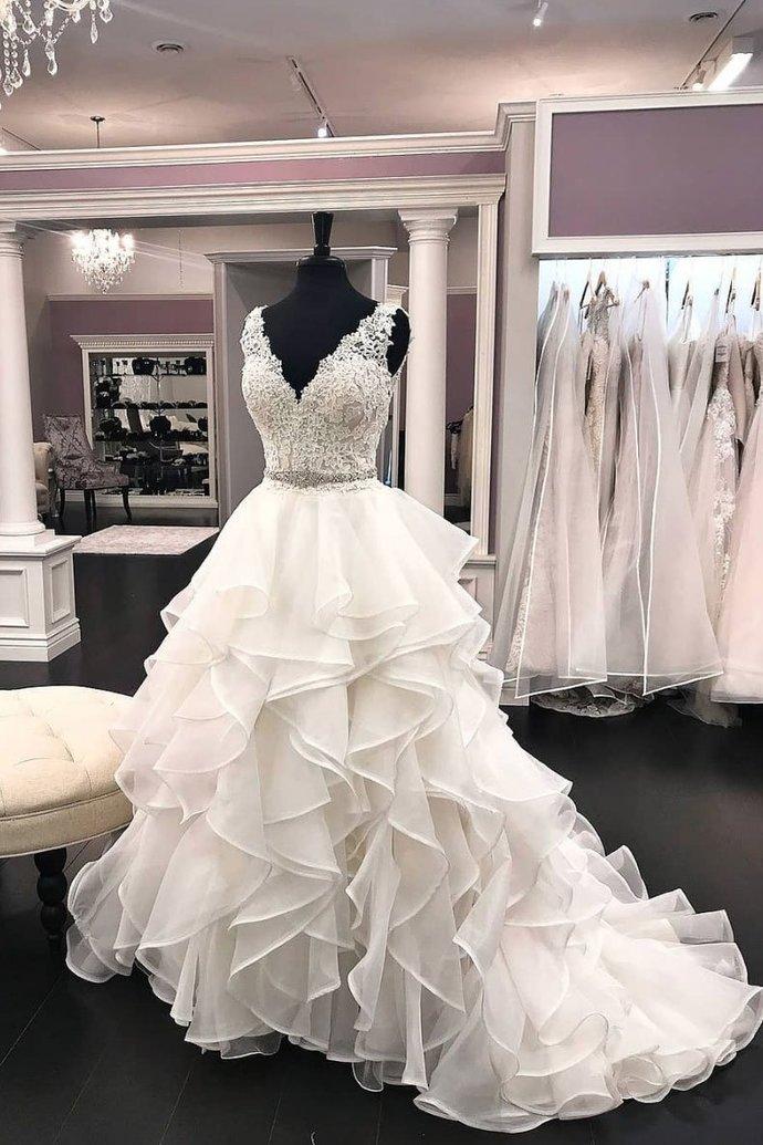 Ball Gown V-neckline Wedding Dress,Tiered Skirt Bridal Dress