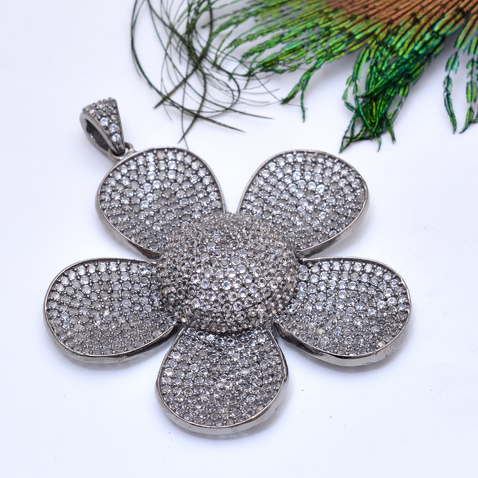 925 Sterling Silver White topaz Flower  Pave Pendant Jewelry