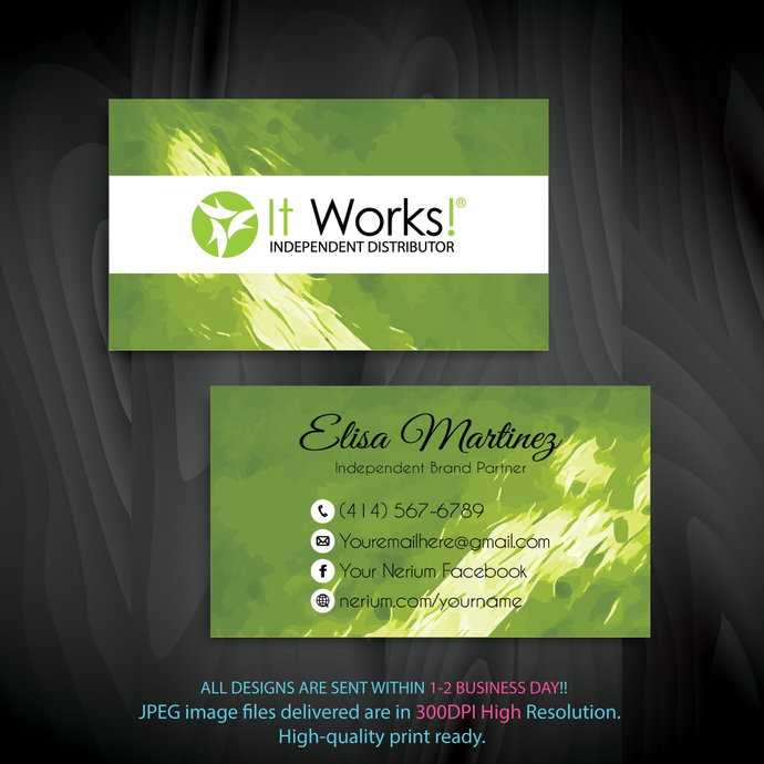 It Works Business Cards, Independent Distributor, Personalized It Works Business