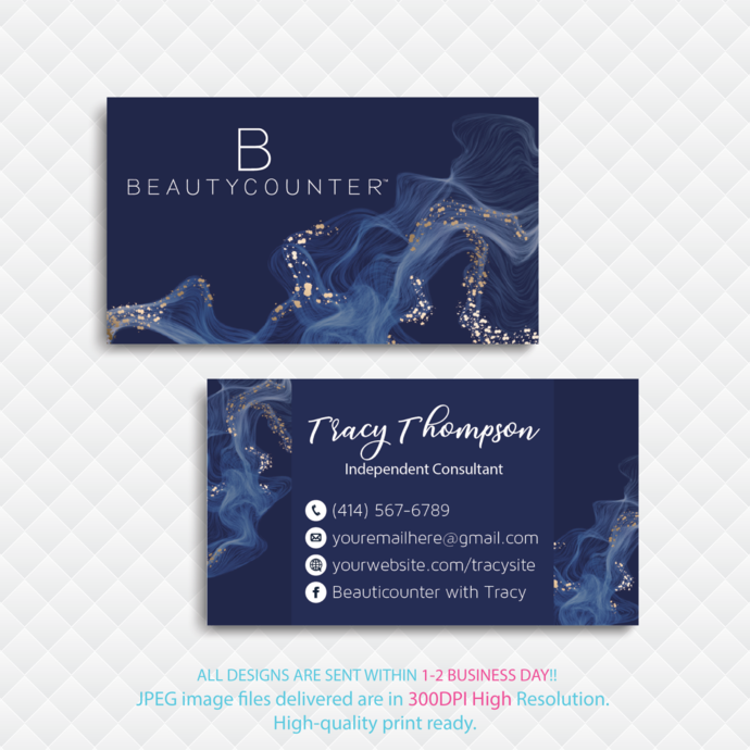 Beauty Counter Business Card, Personalized Beauty Counter Business Card, Glitter