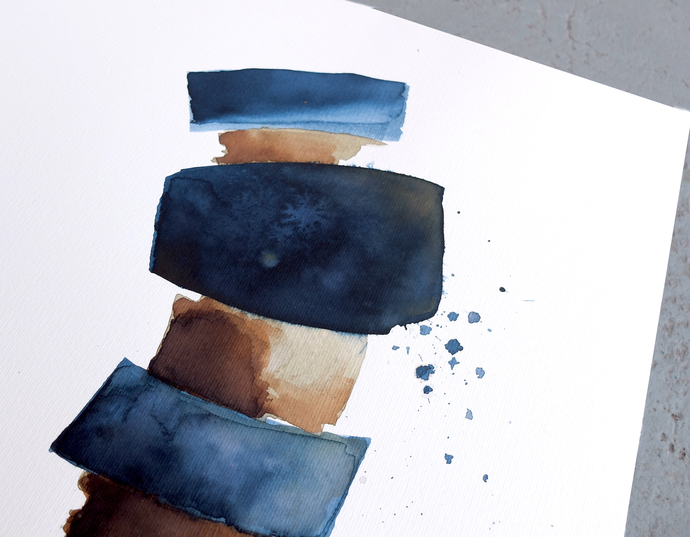 modern abstract, Industrial Decor, original ink abstract, blue brown watercolor