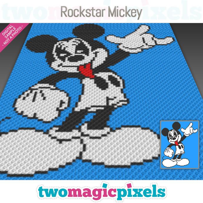 Rockstar Mickey crochet graph (C2C, Mini C2C, SC, HDC, DC, TSS), cross stitch;