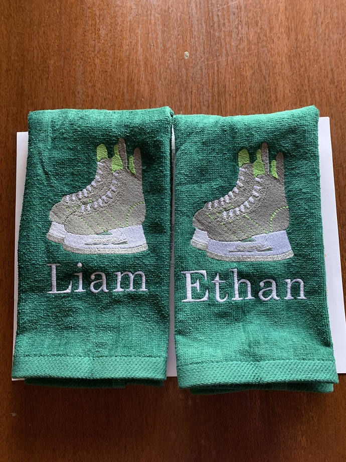 Personalized Ice Hockey towel, embroidered, Hockey design, towel size Choices 16