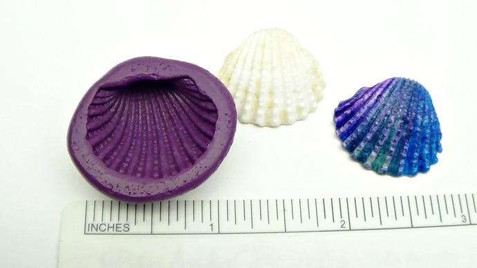 Silicone Flex Mold - 25 mm Cockle Shell Mold - for Polymer Clay, Resin, Clay,