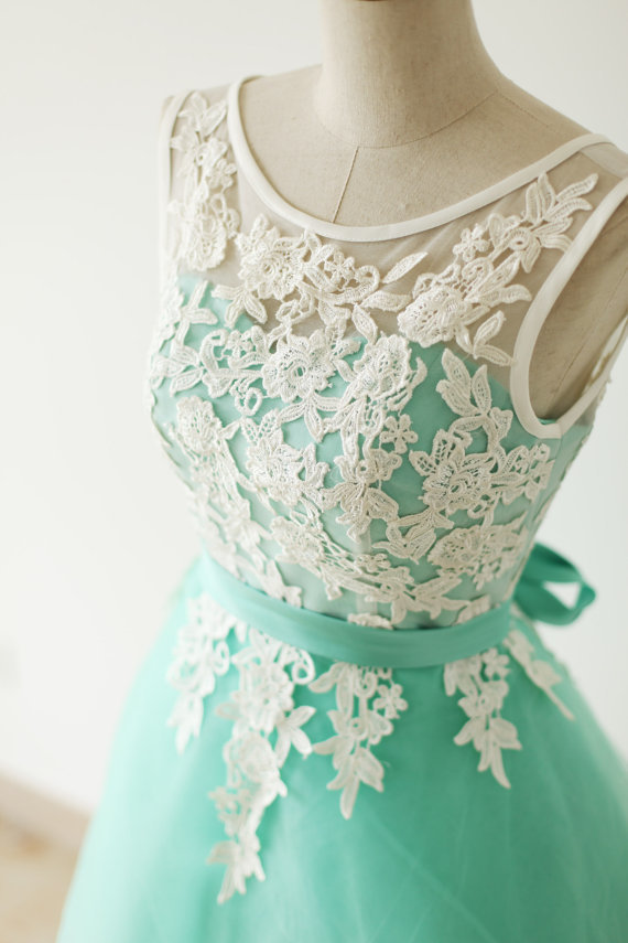 e210084be32 Custom Made A Line Round Neck Short Lace Prom by Hiprom on Zibbet