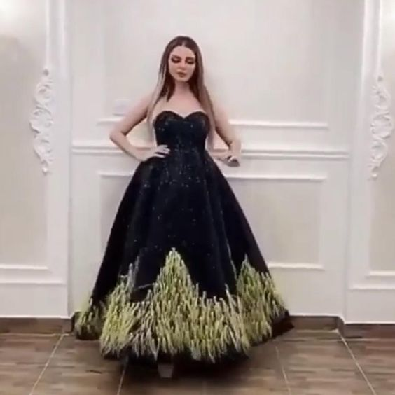 black prom dresses sequins sparkly feather a line sweetheart neckline bling