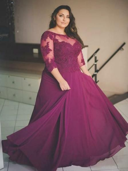 Burgundy Plus Size Prom Dresses,Plus Size Prom Dress with Sleeves,Long Plus  Size Dress