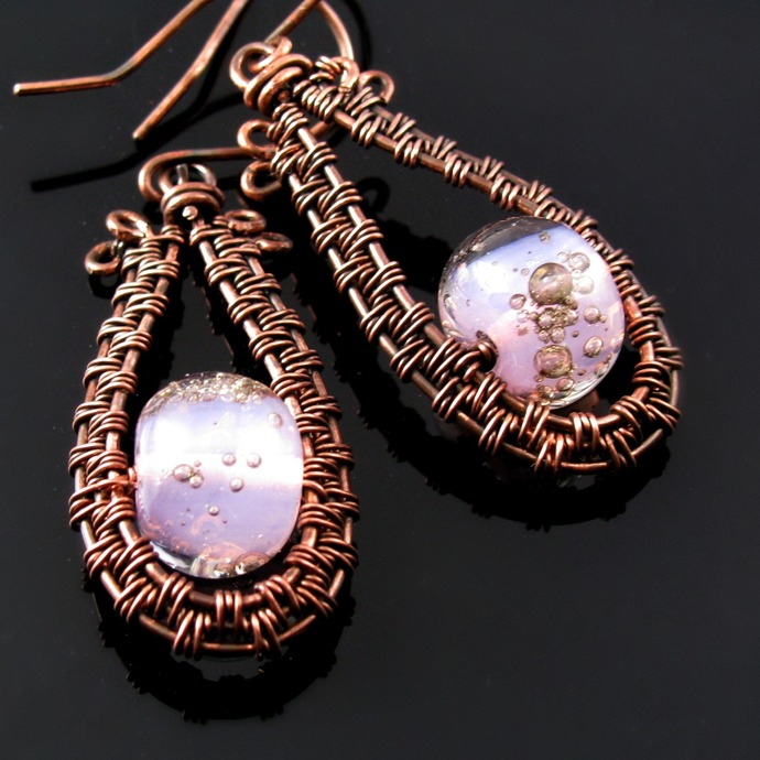 Wire woven drop earrings with pink bubble lampwork beads
