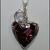 Obsidian, Pink Calcite and Bronze Heart Pendant in Sterling Silver Wire