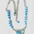 Turquoise Beaded Boho Style Necklace comes with a White Metal Link Chain, Faux