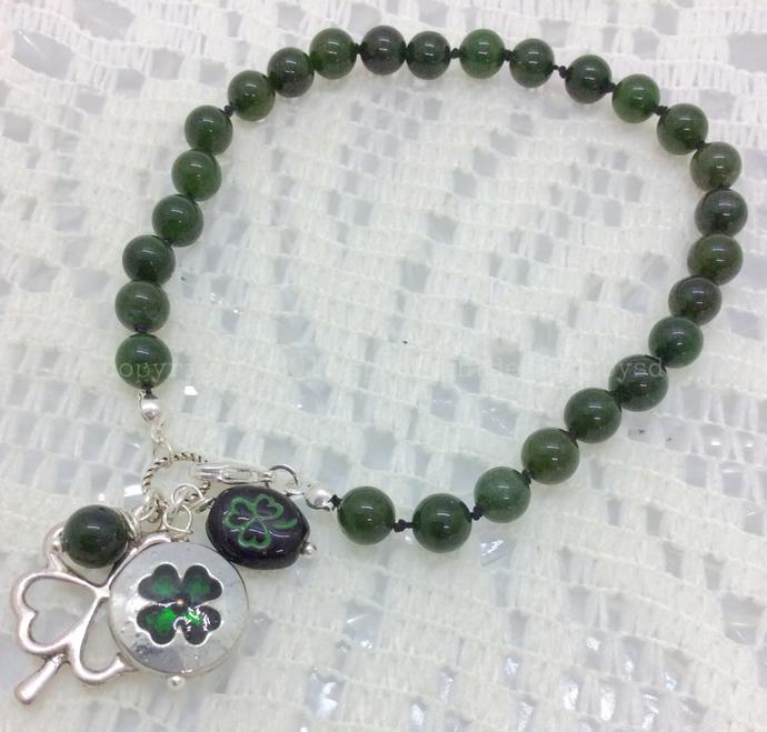 Kiss a Blarney Stone a knotted gemstone charm bracelet