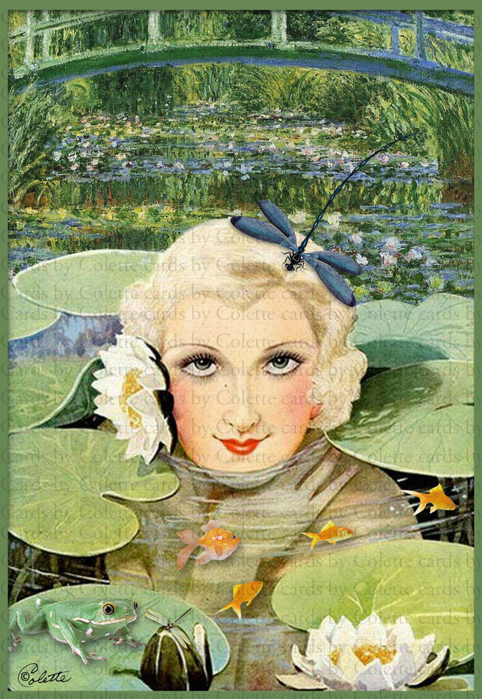 Lady and Waterlilies Digital Collage Greeting Card2239