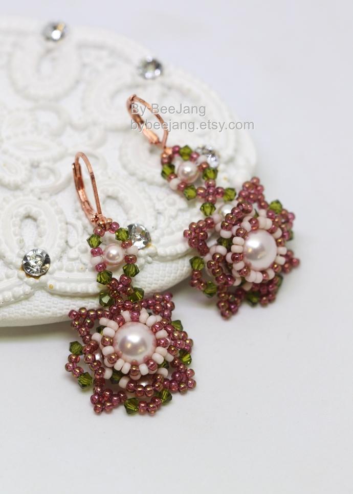 Earrings Tutorials, Kalina, Beadweaving Instruction, Beading Patterns, Earrings