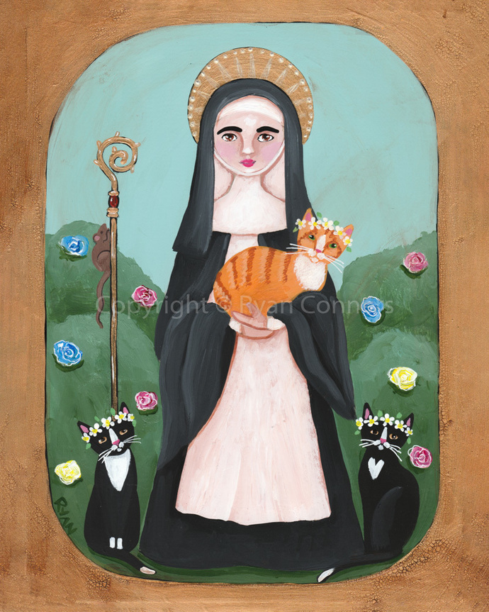 Saint Gertrude of Nivelles and Cats Whimsical Cat Folk Art Giclee Print 8x10,