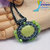 Apple Green Magnesite stone beaded pendant gunmetal, emerald, lime, beads on