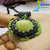 Apple Green Magnesite stone beaded pendant gunmetal, emerald, lime, beads on