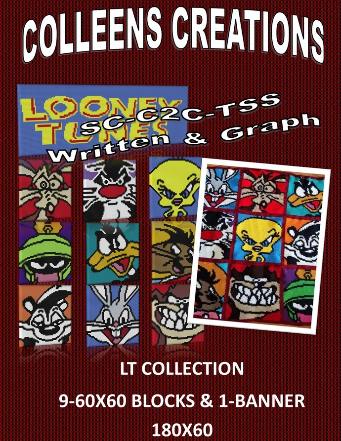 Looney Tunes Block Collection Crochet Design -Graph and Written