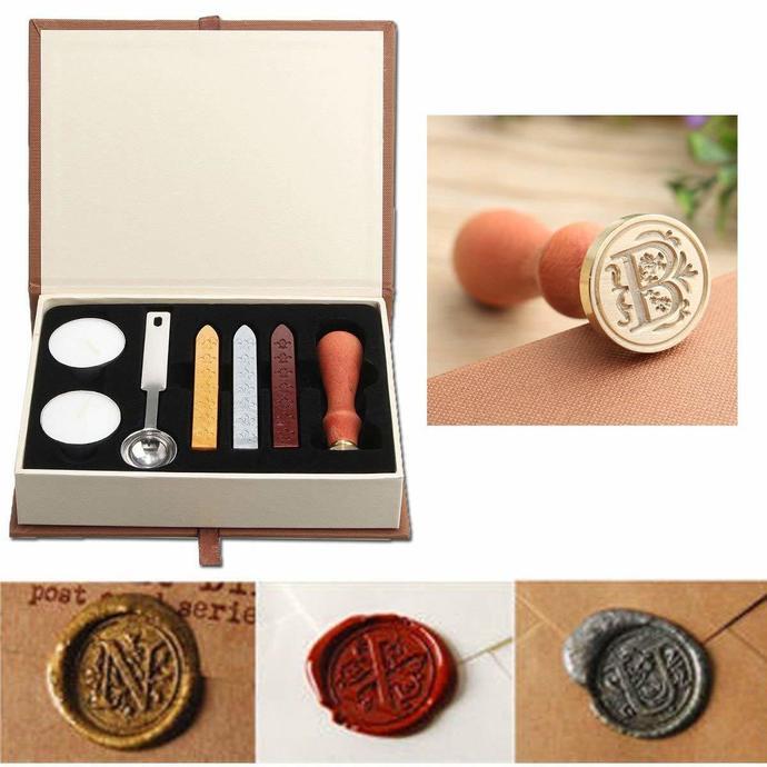 Seal Wax Kit,Vintage Initial Letters Alphabet Wax Badge Seal Stamp Kit Wax Set