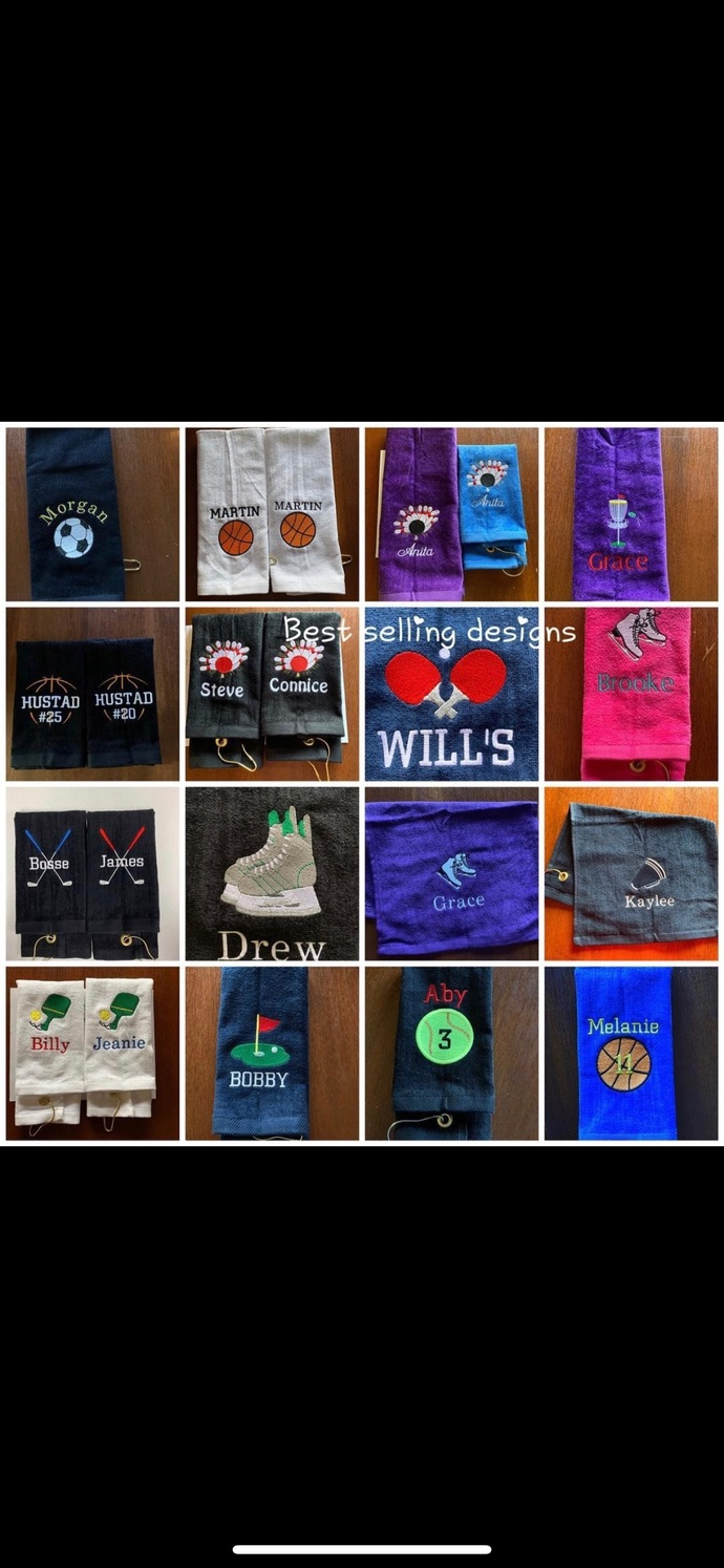 Personalized school Sport towel, embroidered, Any Sport design, towel size