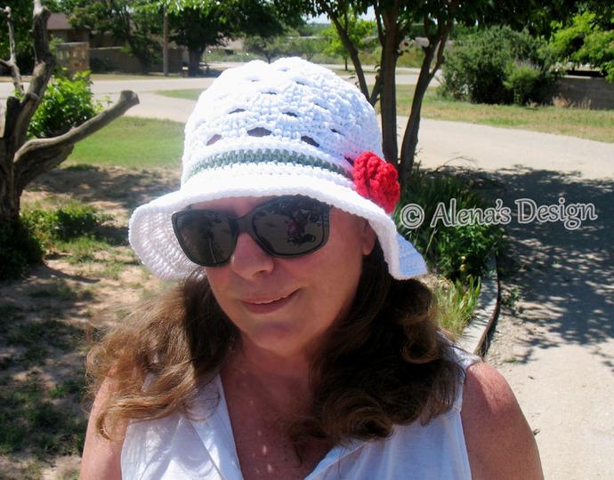 Crochet Sun Hat  Lace White Hat Red Flower Handmade Crocheted Brimmed Summer Hat