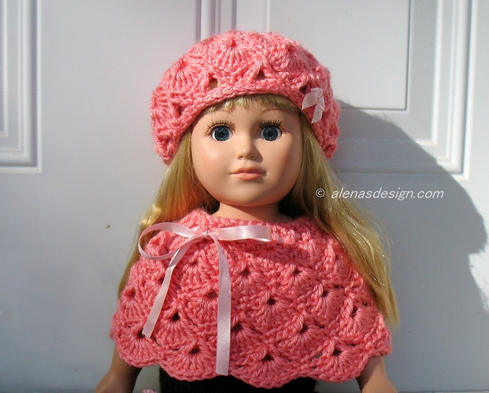Crochet Pink Hat and Poncho for American Girl 18 inch Dolls Outfit AG Handmade