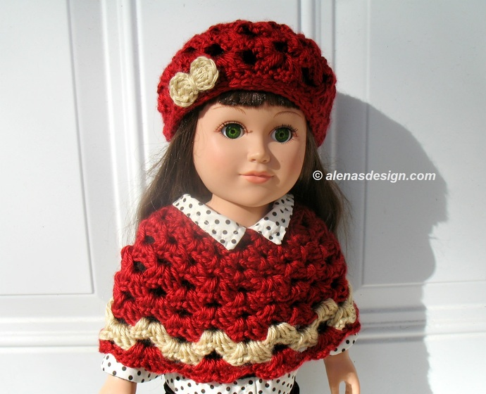 Crochet Red Hat and Poncho for American Girl 18 inch Dolls Outfit AG Handmade