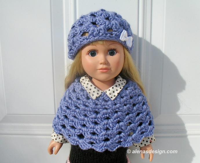 Crochet Lavender Blue Hat and Poncho for American Girl 18 inch Dolls Outfit AG