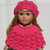 Knitted Pink Hat and Poncho for American Girl 18 inch Dolls Outfit AG Handmade