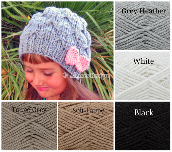 Knitted Pink Bow Hat Handmade Slouchy Beanie Gray Taupe Grey Black Hat Toddler