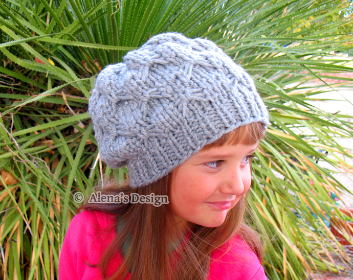 Textured Bows Hat Knitted Grey Hat Handmade Slouchy Beanie Gray Taupe Black Hat