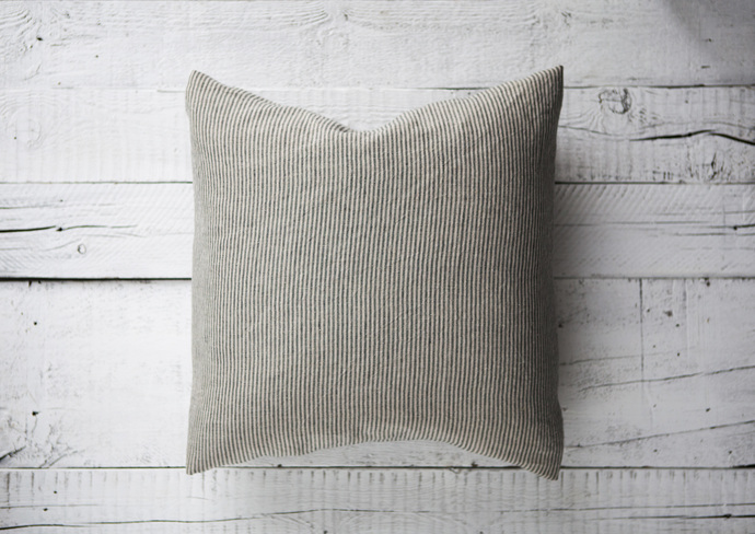 Farmhouse pillow cover Striped pillow case Natural linen with black thin lines