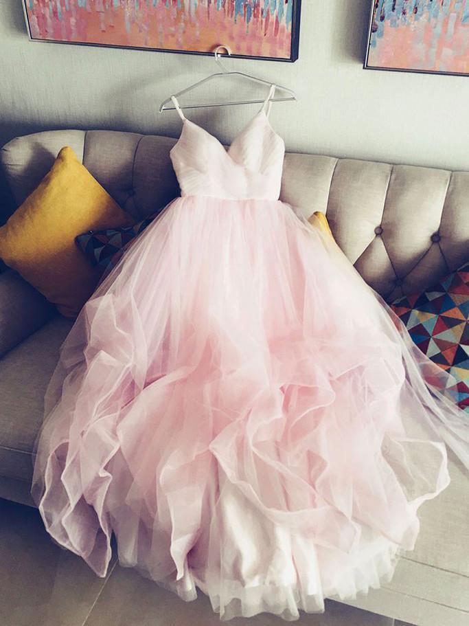 Pink V-neckline Straps Formal Gown 2019, Pink Party Dresses 2019