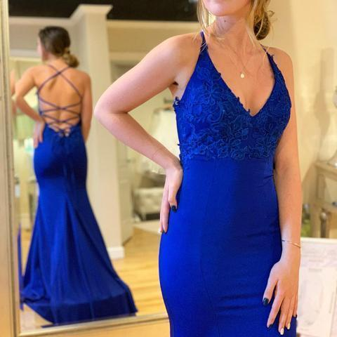 Simple Sexy Mermaid Lace-Up V Neck Backless Long Royal Blue Prom Dress
