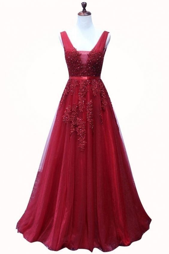 Elegant Red V Necklien Tulle A Line Prom Dress, Beads Appliques Long Homecoming