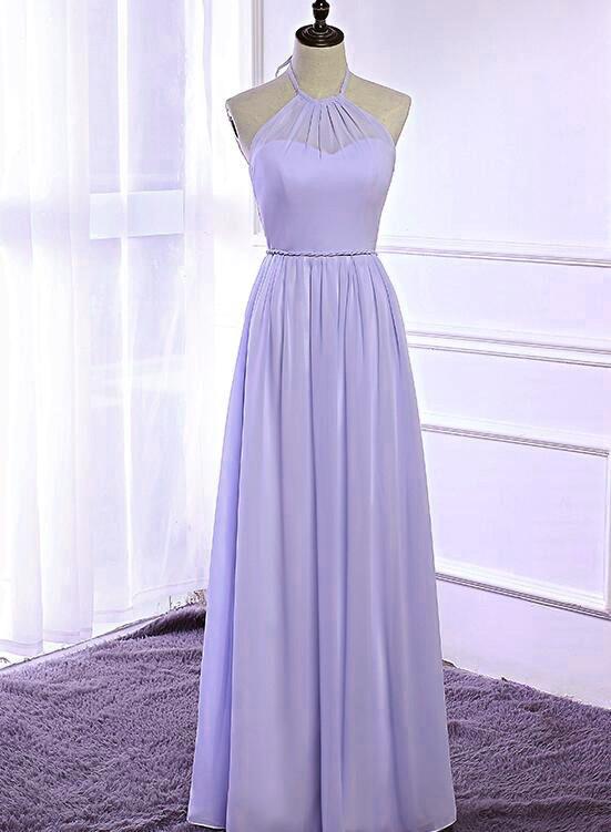 Floor Length A Line Chiffon Prom Dress, Hater Lilac Long Evening Dress