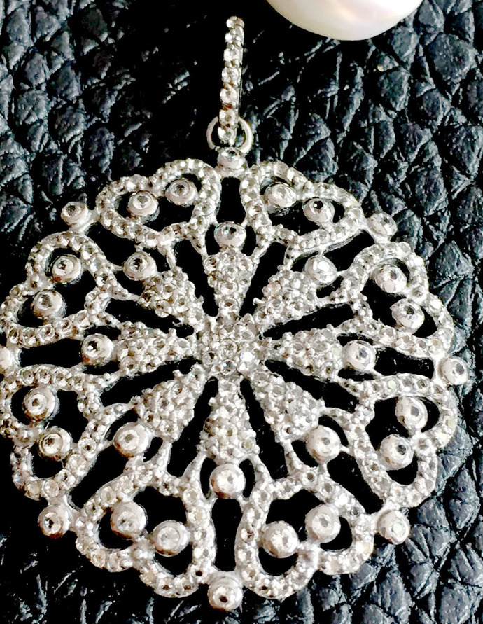 925 Sterling Silver White topaz  Round  Pave Pendant Jewelry