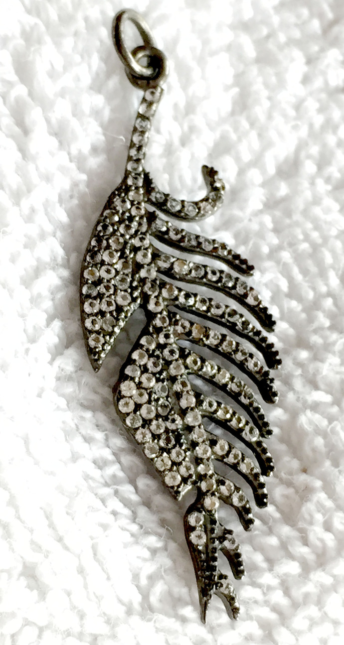 925 Sterling Silver White topaz Leaf Pave Pendant Jewelry