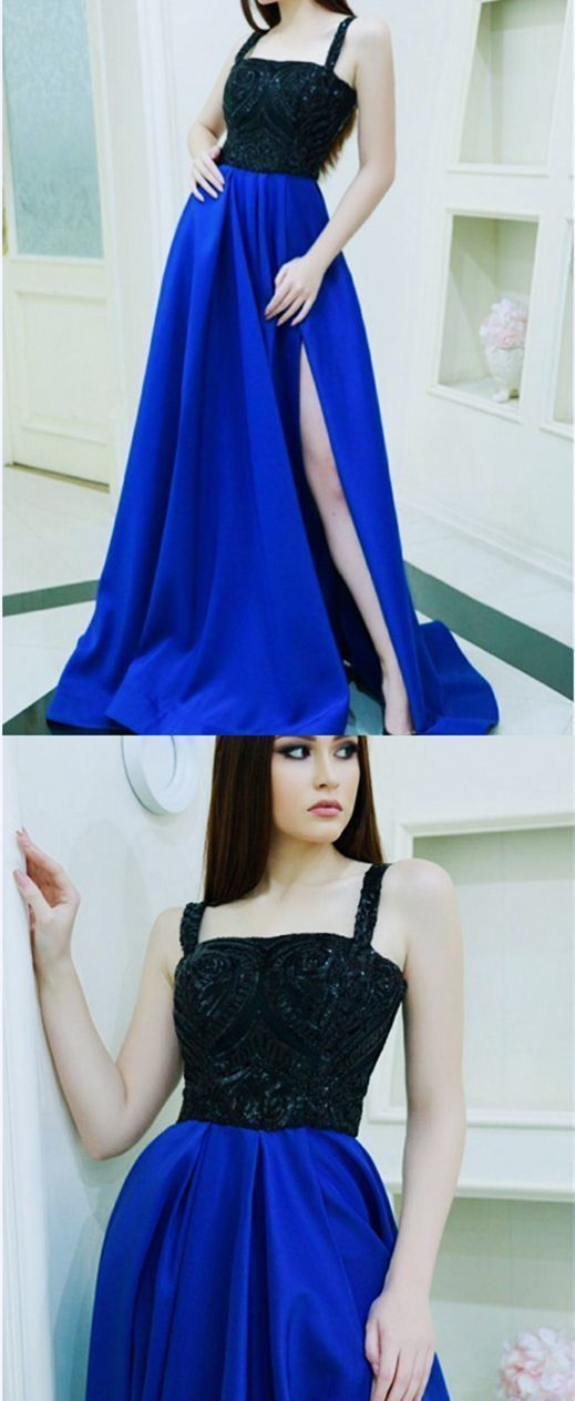 Spaghetti Straps Black Top Beaded A Line Prom Dress with High Slit, Sexy Royal